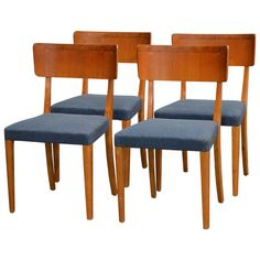 Set of Four Swedish Art Moderne Dining Chairs | From a unique collection of antique and modern dining room chairs at https://www.1stdibs.com/furniture/seating/dining-room-chairs/