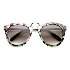 9951df699eea0 Womens Oversize Fashion Floral Print Round Sunglasses - zeroUV Oversize  Fashion