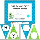 """Celebrate the 100th day with this cute chevron pennant banner!  The download includes:  - cover page - """"HAPPY 100th DAY!"""" banner - blank page (no l..."""