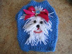 Dog Sweater Yorkie or Maltese By Nina's por NinasCoutureCloset                                                                                                                                                                                 Más