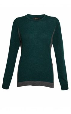 NEW IN at Donna Ida - IDA Monroe Border Crew Neck Jumper in Forest