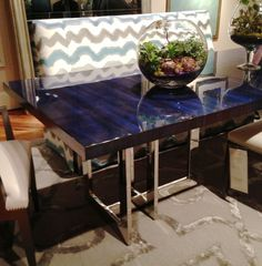 Milan Lapis Dining Table by Century Furniture Interior Design Trends: #lapis #blue  #StyleSpotters #HPmkt http://www.centuryfurniture.com/ Market Square 500, 417