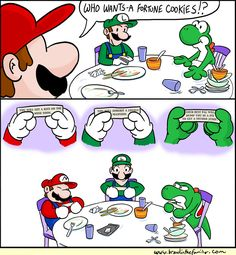 Mario, Luigi, and Yoshi Fortune Cookies!  Who knew that a fortune cookie would determine thier fate!  lol!