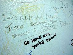 Writings on bathroom wall for sex