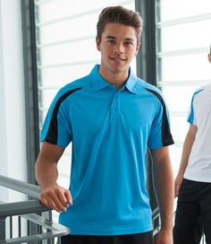 Awdis Just Cool Contrast Mens Wicking Short Sleeve Sports Polo Shirt