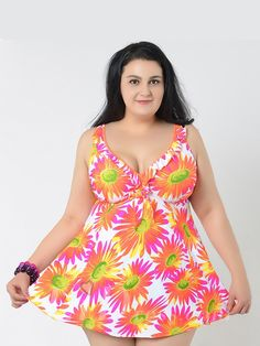 White And Pink Flower Printing Plus Size Sexy Womens Swimsuit Lidyy1605241053