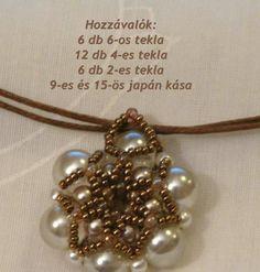 Többetek kérésére elkészítettem a medál mintáját. Tulajdonképpen nem ugyanolyan, mert csiszoltakból nem volt több itthon. Viszont a fűzése u... Beading Patterns Free, Beaded Jewelry Patterns, Jewelry Making Tutorials, Beading Tutorials, Bead Jewellery, Pendant Jewelry, Pearl Pendant, How To Make Beads, Beaded Earrings