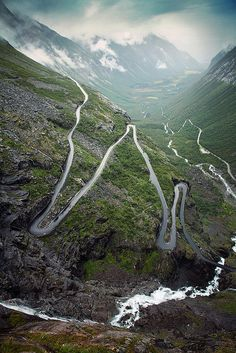 "Trollstiegen, Norway. ""The famous mountain road with its narrow curves and sharp hairpin bends."" by Youronas on Flickr"