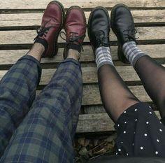 1/28/18; Doc Martens, net socks, mesh stockings, socks, plaid pants,  style