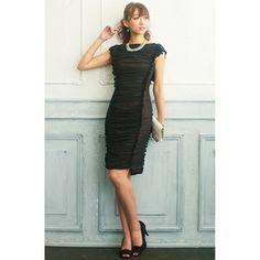 ≪新着≫シャーリングデザインタイトドレス