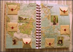 page with map and mini- envelopes