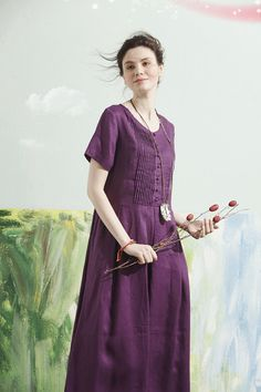 Maxi Purple Dress for women, made of soft linen fabric. * IMPORTANT: We dont use linen blend. We only use 100% high end linen. These linen wont wrinkle, and the color wont fade for many years. The cost of 100% linen and linen blend are quite different. Try our best 100% linen clothing. :)  【Details】 1.single breasted style with beautiful pleats over the tops 2. two side pockets 3.ruffle and long skirt 4. extravagant large and flattering dress bottom  【Fabric】 100% linen, natural pure linen…