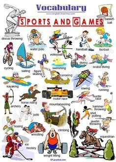 English For Beginners: Sports and Games English Fun, English Study, English Class, English Words, English Lessons, English Grammar, Learn English, English Resources, English Activities