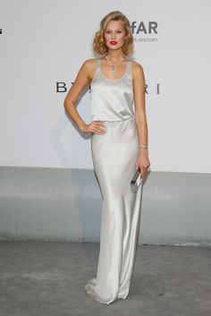 Toni Garrn at amfAR Gala 2014, in Redemption Choppers slip dress
