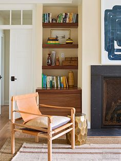 Wall-to-wall floating walnut shelves on both sides of the fireplace offer the same usefulness as traditional built-ins but have a higher style score. French doors lead to the master suite./