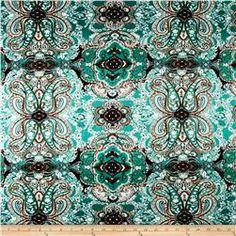 Mosaic Floral Span Jersey Knit Jade/Latte
