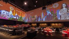 Graphic Bat Mitzvah! Check out this 360 degree screen surrounding the venue!