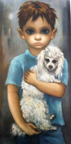 """No Dogs Allowed"" by Margaret Keane. My grandmother had this painting in her guest room, the one she called ""the blue room,"" next to a similar painting of a crying blond girl with a black cat."