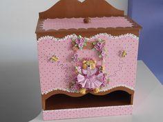 Porta fraldas deMDF decorado com biscuit