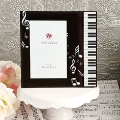 Piano Photo Frames can be used as Table Numbers for Music Theme Bar / Bat Mitzvah - Available from Cool Party Favors - mazelmoments.com