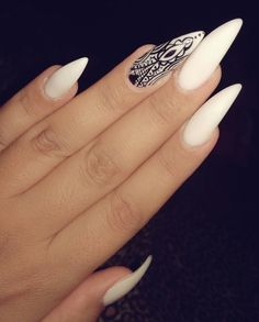Nail White Black e White nail art