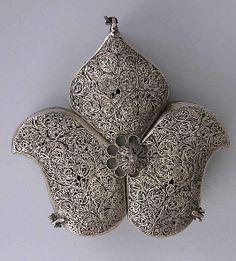 Box Date: 19th century Geography: India Culture: Islamic Medium: Silver Dimensions: H. 2 1/4 in. (5.7 cm) L. 3 3/8 in. (8.6 cm) W. 3 1/2 in....