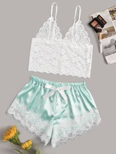 Product name: Floral Lace Bralette With Satin Shorts at SHEIN, Category: Sexy Lingerie Lace Lingerie Set, Sexy Lingerie, Lingerie Underwear, Ropa Interior Babydoll, Cute Sleepwear, Loungewear, Satin Shorts, Lingerie Outfits, Outfit Trends