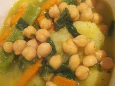 Fabulosa receta para Potaje de garbanzos y acelgas en olla a presión . Este potaje es típico de semana santa, pero se puede hacer todo el año, especialmente cuando hace frio, en cuaresma se agrega trozos de bacalao.  En olla a presión (olla rápida o exprés)