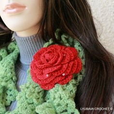 Beautiful crochet Red Rose flower brooch ready to go to you from Cyprus, full of roses now, in November. :) Say THANK YOU to someone special with lovely handmade crochet gift.