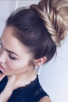 Try this look with a fishtail braid for an updated bun.