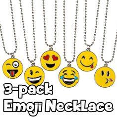 3 Pack of Emoji Necklaces - Assorted Smiley Emoticon 16 inch Necklaces