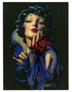 ROLF ARMSTRONG 1930s ANTIQUE ART DECO FLAPPER GIRL PIN-UP PRINT BLOWING KISS NR