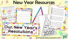 A great selection of New Year printables to download for the Foundation Phase - Early Years -  KS1 - kindergarten - Pre-School Color Activities, Teaching Activities, Craft Activities, Teaching Resources, Teaching Ideas, New Years Hat, New Year Printables, Display Banners, Colourful Balloons