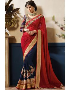 Melodic Midnight Blue and Red #Saree