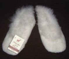 White Slippers, bed shoes, made of pure Alpaca fur