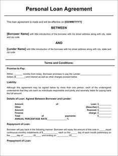 Gallery Of Simple Personal Loan Agreement Template Doent Format
