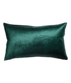 Dark green. Cushion cover in cotton-blend velvet with a concealed zip.