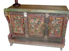 Antique Jaipur Console Tribal Floral Chest Sideboard Damchiya