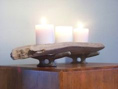 Driftwood Candle Holder Nautical Decor by AntiquesGraveyard