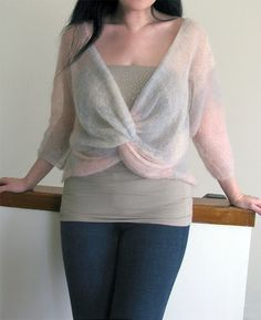 Free Knitting Pattern for Knot Front Pullover - This top is knit with larger needles to create a beautiful drape. Sport weight yarn. Designed by Cynthia Parker. Pictured project by zene who has extensive notes and used kid mohair yarn.