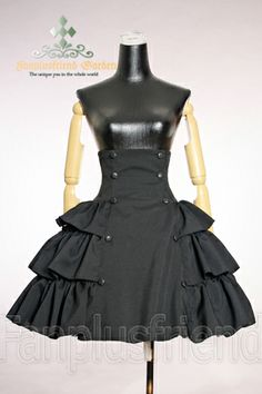 +Gothic Lolita+ High Waist Lacing Up Tiered Skirt*2colors