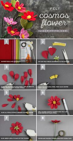 Learn how to make a gorgeous DIY felt cosmos flower