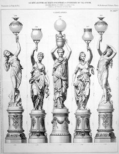 A pair of French figural torchères by the Val d'Osne Foundry