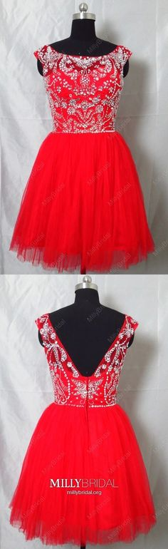 Red Homecoming Dresses Short, A Line Homecoming Dresses Open Back, Tulle Homecoming Dresses Beading, Crystal Homecoming Dresses Cute