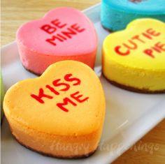 Conversation Heart Cheesecakes | TheBestDessertRecipes.com