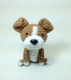 Plush Toy Pit Bull American Stafford Terrier Amigurumi Dog Handmade Crochet Puppy Stuffed Animal Doll / Made to Order