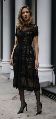 30 DRESSES IN 30 DAYS: Wedding Guest Outfit // Black pleated a-line tea-length lace dress with scallop hem, pointy toe black patent pump, black sheer tights, black shoulder bag with gold chain, deep red lip {Saint Laurent, Gucci, Tadashi Shoji, what to we