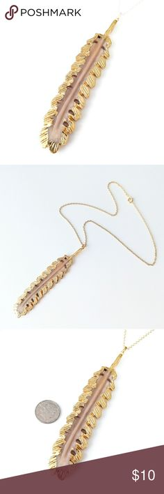 """Gold-plated carved bone feather necklace Boho chic!  Nickel-free chain measures about 18"""" long.  Pendant is about 4"""" long.  PRICE IS FIRM and extremely reasonable; bundle to save 10% today! Jewelry Necklaces"""