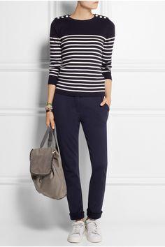 Women's casual style   Petit Bateau Cotton-jersey tapered pants