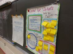 "Interactive anchor chart using post-it notes - love this idea! Here it is used for main idea & detail with ""Snowflake Bentley"" (link has a youtube read aloud of this book)"